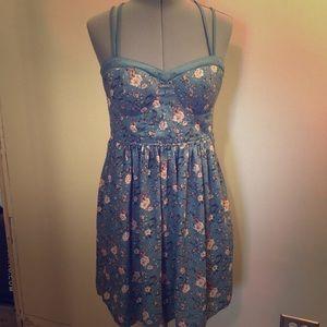 Cross Strap Blue Floral Dress